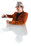 Man pouring beer Stock Images