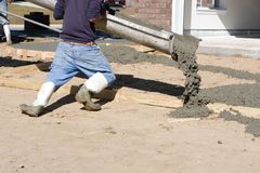 Man Pouring Concrete Royalty Free Stock Image