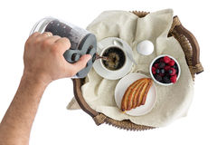 Man pouring fresh breakfast coffee Royalty Free Stock Photography