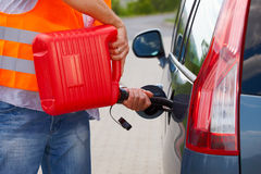 Man pouring fuel Stock Photography