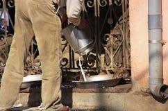 Man pouring milk for rats, Karni Mata Temple, Deshnok, India Stock Images
