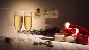 Man pours champagne into a glass,New Year and Christmas Celebration with Champagne. Two Flutes and Pouring Sparkling stock video