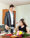 Man pours champagne lady Royalty Free Stock Photo