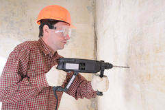 Man with power drill Royalty Free Stock Images