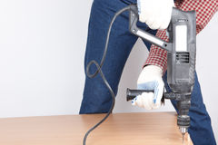 Man with power drill Royalty Free Stock Photography