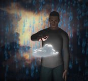 Man with power over cloud Royalty Free Stock Photos