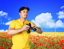 Man and power wind station Royalty Free Stock Photography
