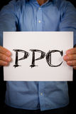 Man with PPC sign Stock Photos