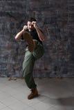 Man practice martial arts Royalty Free Stock Photo