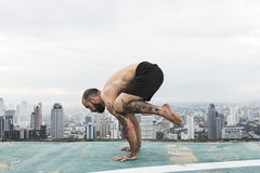 Man Practice Yoga Rooftop Concept royalty free stock image