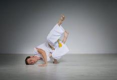 Man practicing Capoeira , brazilian martial Art. Stock Photos