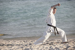 Man practicing karate Royalty Free Stock Photo