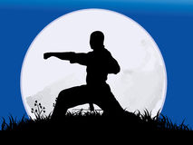 The man Practicing Kung-Fu. Chinese Kung-Fu ,the man Practicing Kung-Fu on the full moon background Stock Photo