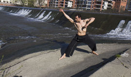 Man practicing martial arts . Royalty Free Stock Photo