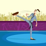 Man practicing Martial arts. Cartoon style man practicing martial arts in vector Stock Images