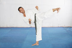 Man practicing martial arts at the gym Royalty Free Stock Photos