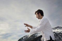 Man practicing martial arts Royalty Free Stock Photos