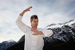 Man practicing martial arts Stock Photo