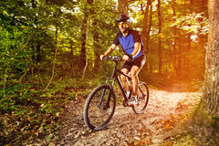 Man practicing mountain biking Royalty Free Stock Images
