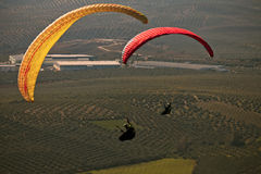 Man practicing paragliding extreme sport Royalty Free Stock Image