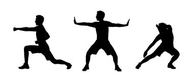 Free Man Practicing Tai Chi Silhouettes Set 1 Stock Photography - 32681662