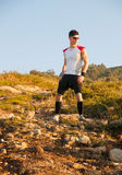 Man practicing trail running Stock Photography