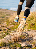 Man practicing trail running and leaping Royalty Free Stock Photo