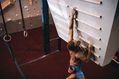Man training on a campus board. Man practicing wall climbing on a campus board. Man climbing on a campus board at a wall climbing gym Royalty Free Stock Photos