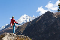 Man practicing yoga in Himalaya mountains. Royalty Free Stock Photo