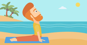 Man practicing yoga. A hipster man with the beard practicing yoga upward dog pose on the beach vector flat design illustration. Horizontal layout Royalty Free Stock Photography