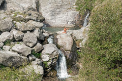 Man Practicing Yoga Outdoors Waterfall Stock Photography