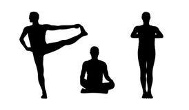 Man practicing yoga silhouettes set 2 Stock Photos