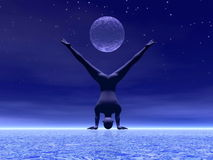 Yoga at moonlight - 3D render. Man practicing yoga under full moon by starry night Royalty Free Stock Photography
