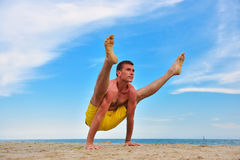 Man practicing yoga Stock Image