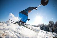 Man practising extreme ski. On sunny day royalty free stock photo
