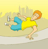 Man practising parkour or freerunning in the city Royalty Free Stock Photos