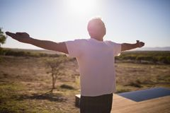 Man practising yoga on wooden plank. On a sunny day Royalty Free Stock Photo