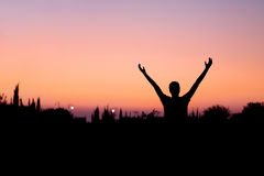 Man Praising in Nature Royalty Free Stock Images