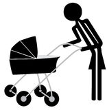 Man with pram Royalty Free Stock Images