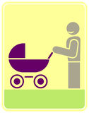 Man with a pram - vector icon Stock Image