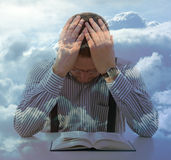 Man pray unusual sky view clouds religion concept. Double exposure Royalty Free Stock Image