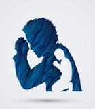 Man prayer shadow graphic. Vector Stock Photos