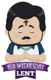Man Praying with Cross in his Forehead on Ash Wednesday, Vector Illustration. Poster with purple ribbon and bearded man with cross in his forehead praying on Ash Stock Image