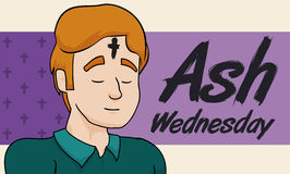 Man Praying with Cross in his Forehead on Ash Wednesday, Vector Illustration. Poster with young man on solemn praying after the ash cross was printed in his Stock Photography