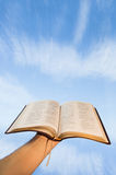 Man praying with his bible. Against blue sky Royalty Free Stock Photo