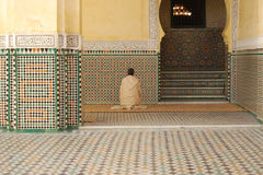 Man Praying in a Mosque Royalty Free Stock Photography