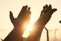 Man praying out of two hand. And freedom ,hope concept Royalty Free Stock Photo