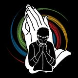 Man praying to God ,Prayer cartoon graphic. Vector vector illustration