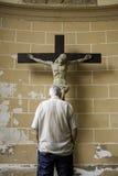 Man praying to jesus royalty free stock image