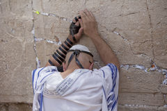 Man Praying at the Wailing Wall, Jerusalem Stock Photo